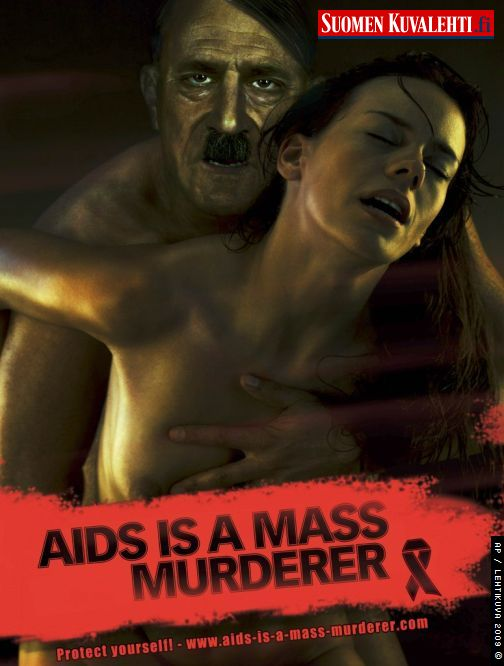 Hitler tem a cara da AIDS ou dos portadores do vírus? Esse é questionamento das ONGs.