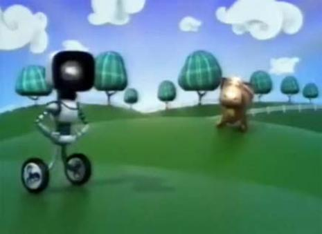 Uma vaquinha dá cabeçada em robô parecido com o símbolo do BBB